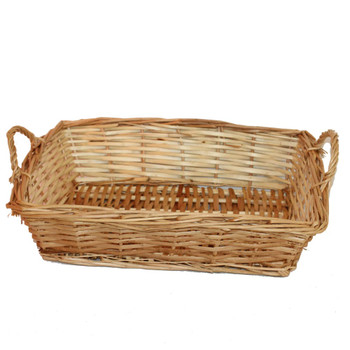 "16"" Rectangular Willow Tray Basket with Ears"