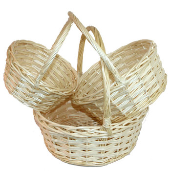 Natural Round Willow Basket With Handle Set of 3