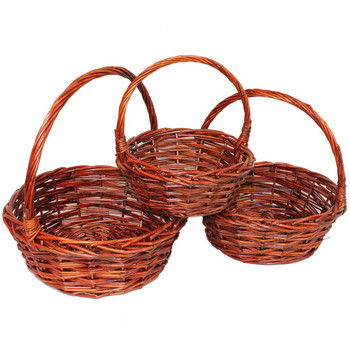 Brown Round Willow Basket With Handle Set of 3