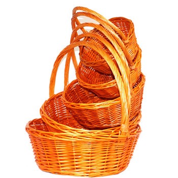 Orange Round Willow Basket with Handle Set of 5