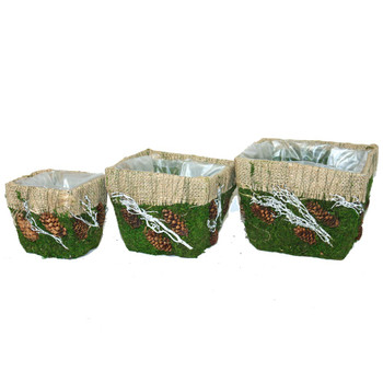 Square Burlap and Moss Deco Planter Basket Set of 3