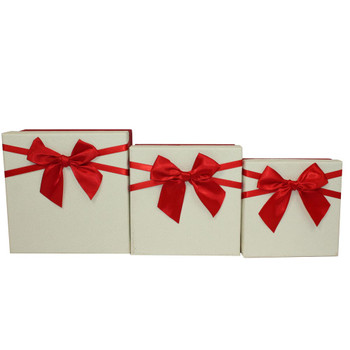 "7.5"" Ivory and Red Small Floral Gift Boxes Set of 3"