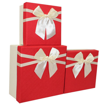 "7.5"" Red and Ivory Small Floral Gift Boxes Set of 3"