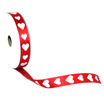 "5/8"" Red and White Hearts Satin Ribbon"