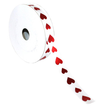"5/8"" White and Red Hearts Satin Ribbon"