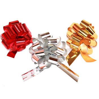 #9 Red, Silver and Gold Metallic Pull Bow Ribbon