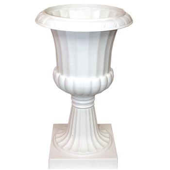 "20""  White Plastic Floral Urn"