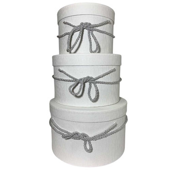 "10"" White Round Gift  Boxes Set of 3"