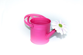 "6""H Semi Gloss Fuchsia Flower Water Can"
