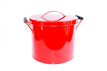 "8""H Red Metal Bucket with Lid and Wood Handles"