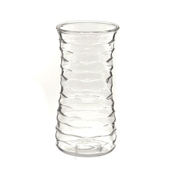 """9.5""""H Clear Ribbed Glass Rose Vase"""