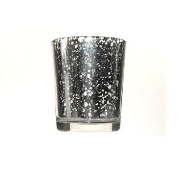 "3""H Silver Mercury Glass Candle Holder"