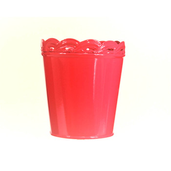 4'' Hot Pink Metal Bucket With Waved Edge
