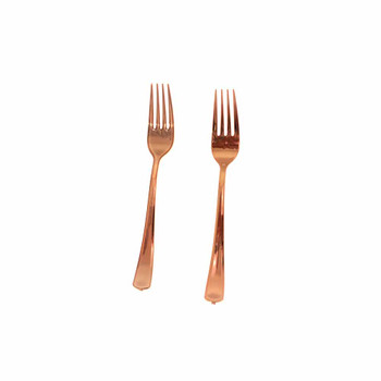 7'' Rose Gold Plastic Fork
