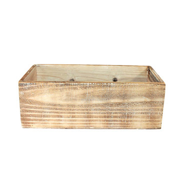"10"" White Wash Rectangular Wood Grain Planter"