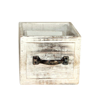 White Wash Wood Drawer Planter Set of 2