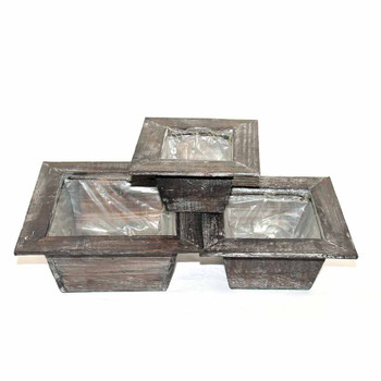 Natural Washed Square Wood Tray Set of 3