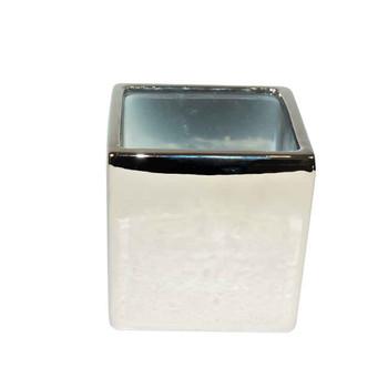 4'' Silver Ceramic Cube