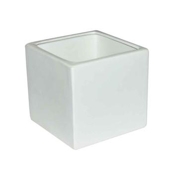 6'' White Ceramic Cube