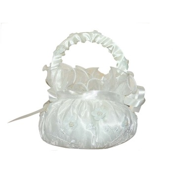 4.5'' White Flower Girl Basket