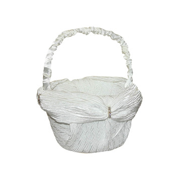 6'' Ivory Flower Girl Basket With Crepe Satin