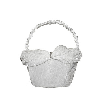 6'' White Flower Girl Basket With Crepe Satin