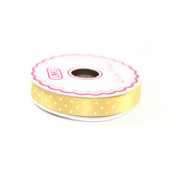 "1/2"" Yellow Satin Ribbon With Polka Dots"