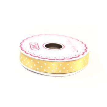 """1/2"""" Yellow Satin Ribbon With Polka Dots"""
