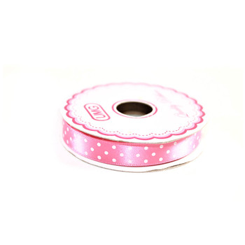 "1/2"" Pink Satin Ribbon With Polka Dots"