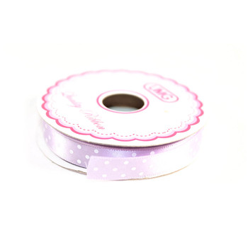 "1/2"" Lavender Satin Ribbon With Polka Dots"