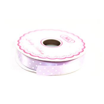 """1/2"""" Lavender Satin Ribbon With Polka Dots"""
