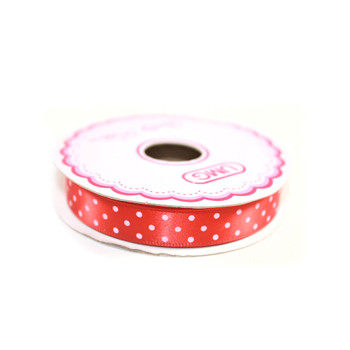 "1/2"" Red Satin Ribbon With Polka Dots"