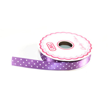 "1/2"" Purple Satin Ribbon With Polka Dots"