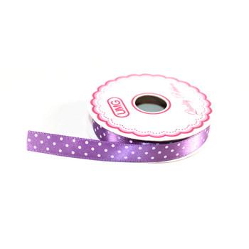 """1/2"""" Purple Satin Ribbon With Polka Dots"""