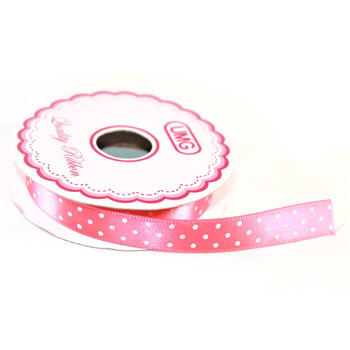 "1/2"" Hot Pink Satin Ribbon With Polka Dots"