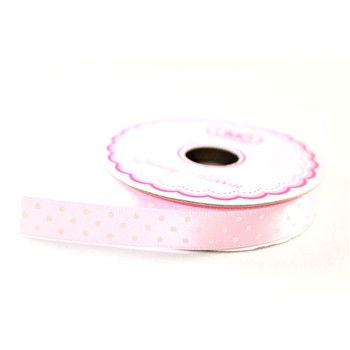 "1/2"" Light Pink Satin Ribbon With Polka Dots"