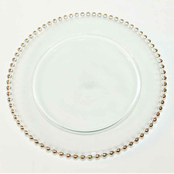 "12"" Charger Plate With Gold Beaded Edge"