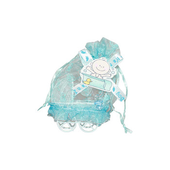 "3""  Baby Boy Carriage with Pouch"