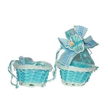"1.75""  Baby Boy Small Basket With Pouch"