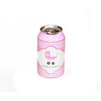 "3.5"" Pink Baby Shower Soda Can"