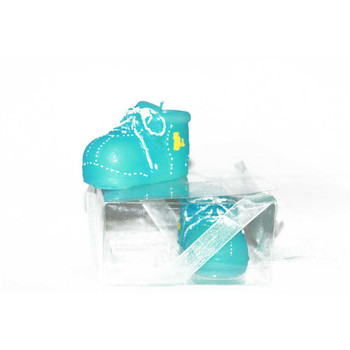 """2"""" Blue Baby Shoes Candle"""