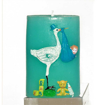 "3.25"" Stork Blue Candle"