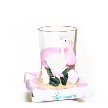 "2.5"" Pink Stork Votive Candle"