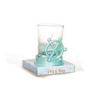 "2.5""  Blue Ship Wheel Votive Candle"