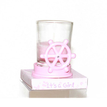 "2.5"" Pink Ship Wheel Votive Candle"