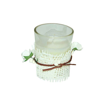 "2""  White Tealight Candle With Burlap"