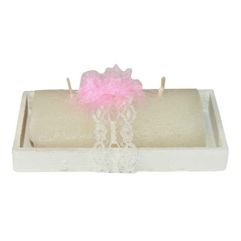 """5"""" Candle In Wooden Base"""