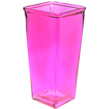 "9"" Fuchsia Glass Tapered Vase"