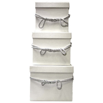 White Square Flower Box with Decorative Rope Set of 3