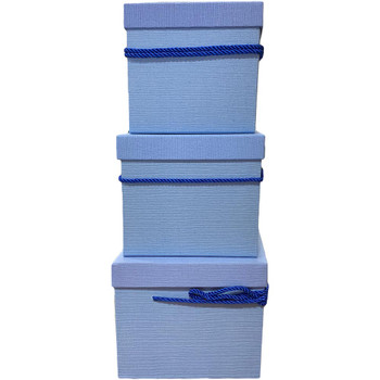 Blue Square Flower Box with Decorative Rope Set of 3